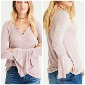 American Eagle soft sexy bell sleeve shirt cage
